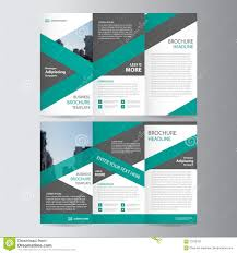 tamplate green trifold annual report leaflet brochure flyer template design