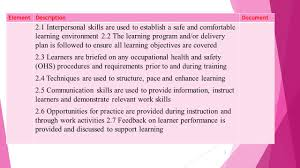 taadela provide training through instruction and demonstration 2 elementdescriptiondocument 2 1 interpersonal