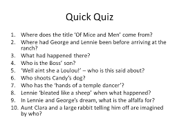 of mice and men revision ppt video online quick quiz where does the title of mice and men come from
