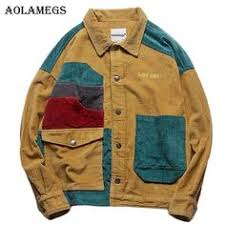 <b>Aolamegs Jacket Men</b> Corduroy <b>Patchwork Men's Jacket</b> Pockets ...