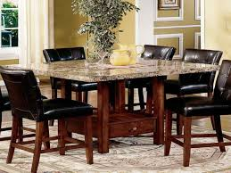 Round Granite Kitchen Table Dining Room Contemporary Chandelier Above Round Granite Dining