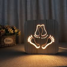 Amazoncom Night Light For Kids Footprint Wooden 3d Lamp Creative