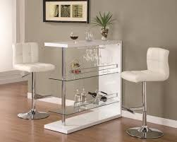 bar table set in gloss white finish with 2 bar stool by coaster 100167 120356