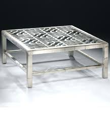 table coffee table antiqued silver with glass top and open work design geometric