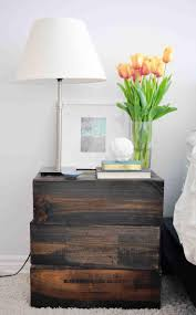 simple modern diy stacked bedside nightstand table lamp with dark color for bedroom with white interior color decoration ideas
