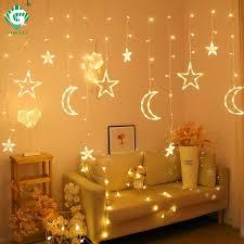 Fairy Lights Moon Moon Star Fairy Lamp Childrens Eu Us Plug Copper Wire
