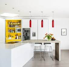 White Kitchen With Red Accents 12 Modern White Kitchen Design With Yellow Accent Ideas