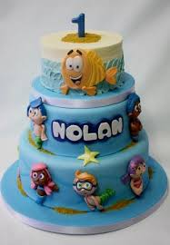 Bubble Guppies Theme First Birthday Cake In 3 Tiersjpg