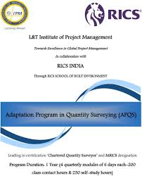 Mrics Designation L T Institute Of Project Management Towards Excellence In
