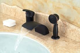 deck mount tub faucet with sprayer modern oil rubbed bronze waterfall spout bathroom tub faucet hand
