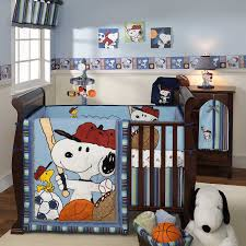 adorable baby nursery comforting baby boy room ideas with dog themes baby bedding sheet as well as wooden crib and white rugs on wood floors ideas