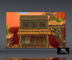 old west town platform set royalty free game art