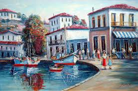 oil paintings painting greek island no 1 90x60 cm by nikolas k