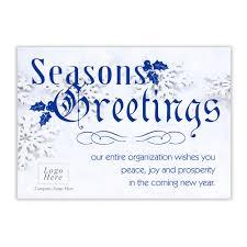 Buisness Greeting Cards Snowflake Seasons Greeting Corporate Holiday Card