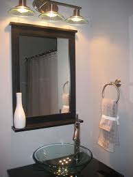 remodel decoration pendant bathroom lighting washbowl. DIY Small Powder Room With Clear Glass Bowl Sink On Black Marble Top Also Mirror Having Shelf Under Three Hanging Lamps Remodel Decoration Pendant Bathroom Lighting Washbowl