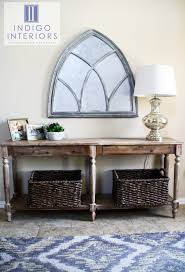 Entry Way with Everett foyer table from World Market and Carrie thick twist  baskets. Weathered