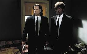 an analysis of quentin tarantino s visual trademarks and film   vincent and jules in pulp fiction black suits
