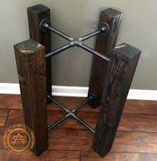 table base solid wood beam iron pipe round square dining custom options