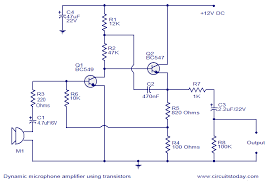 microphone circuit diagram info dynamic microphone amplifier using transistors electronic wiring circuit