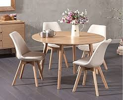 ex display nordic 120cm round oak dining table with four light grey duke fabric chairs