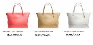 COACH SAFFIANO LARGE CITY TOTE style  F23822 PRICE SGD360  NETT INC HOME  DELIVERY COLOR  CORAL, CAMEL AND CHALK 15