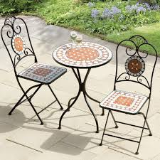 patio tables charming mosaic bistro table and chair set chairs homebase garden small folding patio