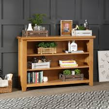 ... Bookcase, Low And Wide Bookcase Horizontal Bookcase Small Wooden  Bookcase With Three Level For One ...