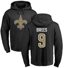 New Saints Brees Youth Pullover Line Backer Hoodie Black Pro Drew Orleans