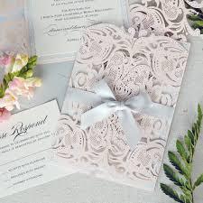 Blush Gatefold Laser Cut Wedding Invitations With White Ribbon And Silver Glitter Backer Elegant Invitations Pink Pastel Wedding Colors Garden