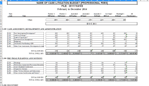 Budget Layout Excel The Lawyers Tool Box Litigation Task Based Budget Excel