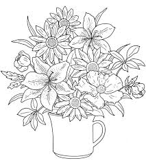 Floral Coloring Pages Lily Flowers Coloringstar