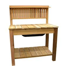 Potting Table 4475 In X 605 In Natural Cedar Potting Bench With Modern Shelf