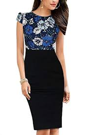 Yacun Women's Cap Sleeve Floral Print <b>Patchwork Office Dress</b> ...