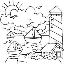 Malvorlage leuchtturm gebäude kostenlose ausmalbilder. Leuchtturm Mit Segelschiffen Ausmalbild Malvorlage Gemischt