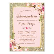 Invitations Quinceanera Quinceanera Birthday Pink Floral Gold Glitters Invitation