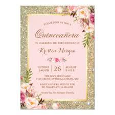 Invitation Quincenera Quinceanera Birthday Pink Floral Gold Glitters Invitation