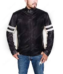 mens cafe racer retro style black jacket