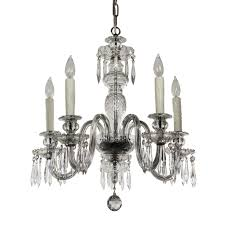 antique five light crystal and glass chandelier with prisms c 1920