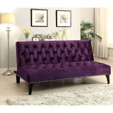 A-Line Furniture A Line Furniture Xnron Button Tufted PurpleVelvet Sofa Bed  Lounger with Nailhead