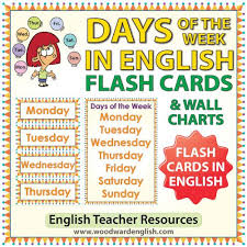 English Days Of The Week Flash Cards Charts Woodward
