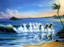 100 handmade large canvas wall art horse running on the beach seascape oil paintings modern quadros de parede h0005 in painting calligraphy from home