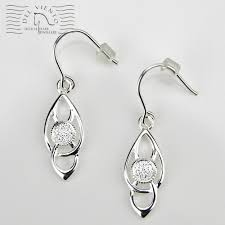 hhj036ss vsterling silver celtic style earrings with 4mm setting