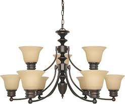 nuvo lighting 60 1275 nine light chandelier mahogany bronze champagne glass