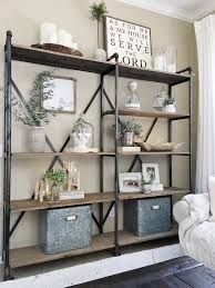 Living Room Bookshelf Decorating Industrial Shelves Pinteres