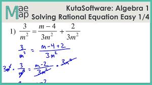 kuta algebra 1 solving rational equations easy part 1