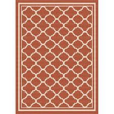 5 x 7 medium terra cotta orange moroccan tile indoor outdoor rug garden city rc willey furniture