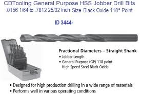 drill bit sizes fractional inch. fractional sizes 1/64 .0156 to 25/32 .7812 jobber drill bits general purpose id 3444- bit inch