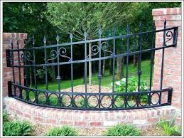 wrought iron fence brick. Exterior, Alluring Wrought Iron Fence Design And Charming Brick Walls Suitable To Applied In Spacious