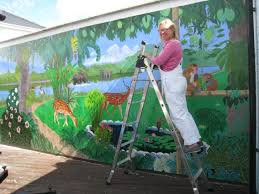 on hand painted wall murals artist with terri jones mural artist hand painted murals trompe l oeil paintings
