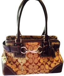 Coach Monogram Leather Tassel Discontinued Style Jacquard Satchel in Brown  ...